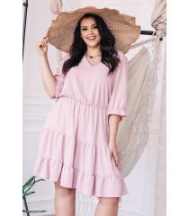 Różowa sukienka z falbanami - Matilde