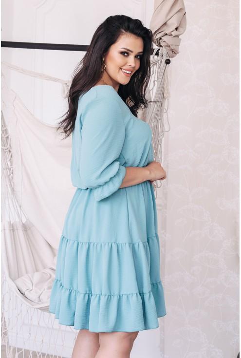 Bok miętowej sukienki plus size