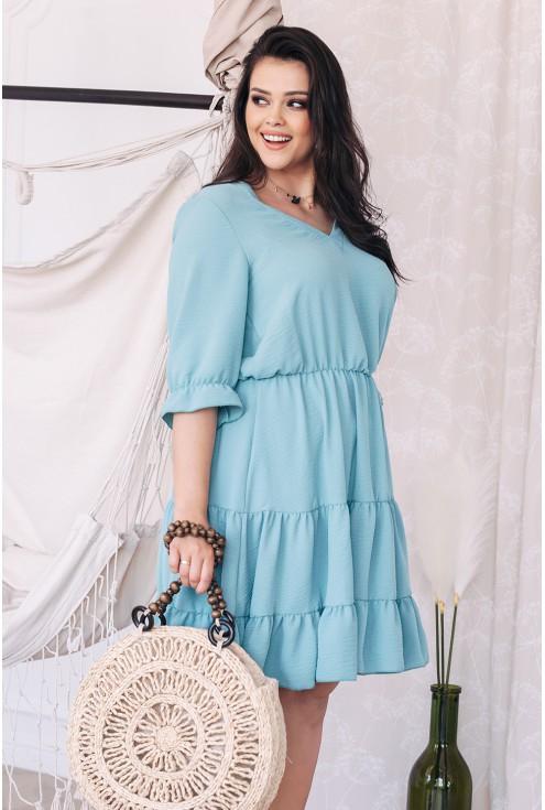 Miętowa sukienka z falbanką plus size