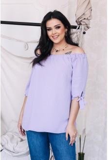 Fiołkowa bluzka z wiązanymi rękawami NINA xxl