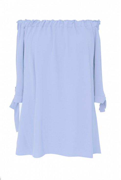 Błękitna bluzka hiszpanka z wiązanym rękawem NINA