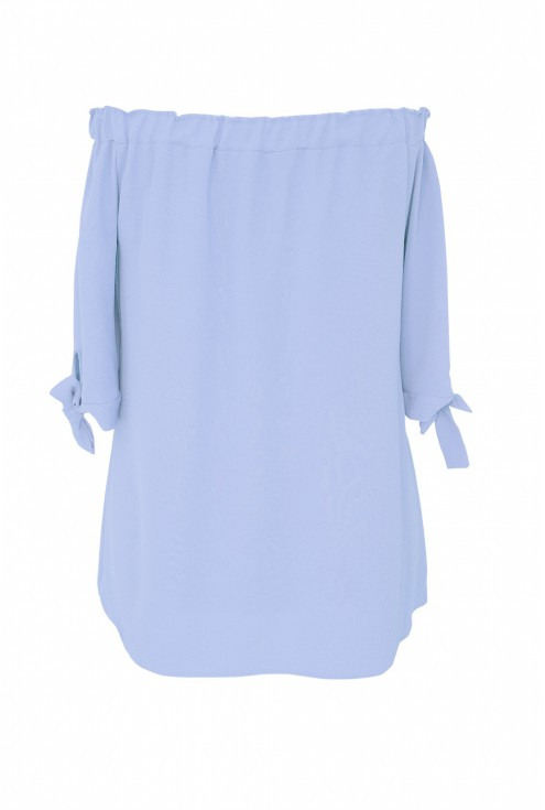 Błękitna bluzka hiszpanka z wiązanym rękawem NINA - tył