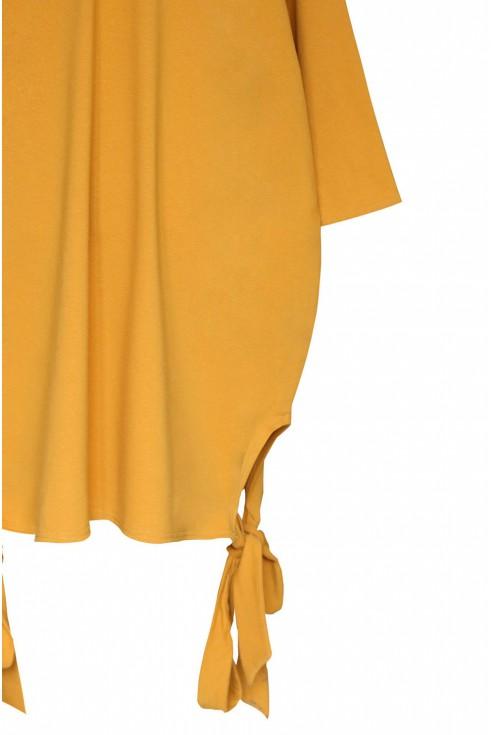 Miodowa sukienka oversize z wiązaniem po bokach VERSO