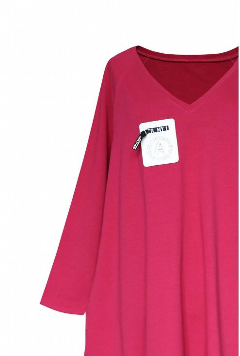 Ciemno różowa sukienka oversize z wiązaniem po bokach VERSO