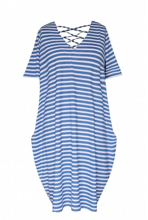 Sukienka w biało niebieskie paski z ozdobnymi sznureczkami na plecach LOLITA