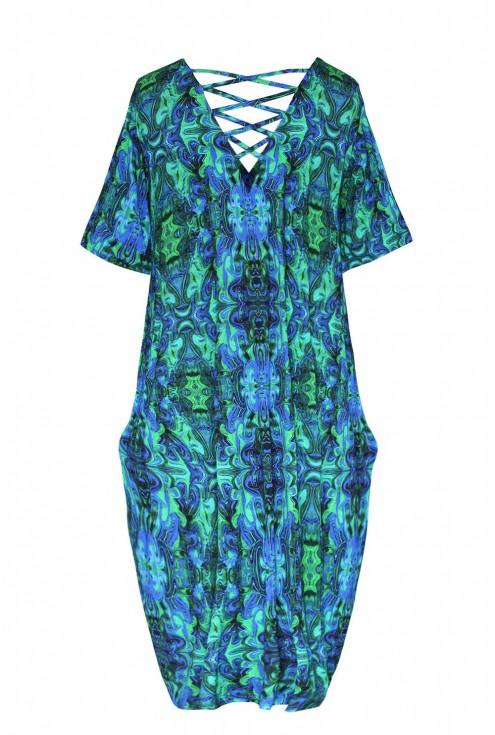 zielono niebieska sukienka ze sznureczkami LOLITA xxl