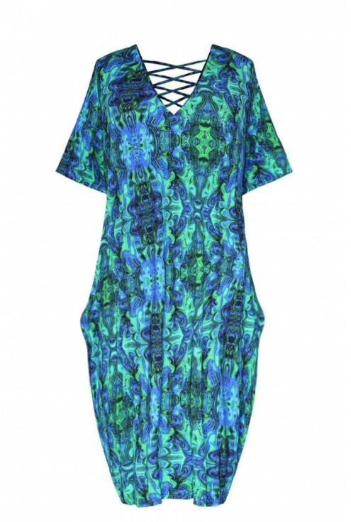 sukienka plus size zielono niebieska lolita xlka