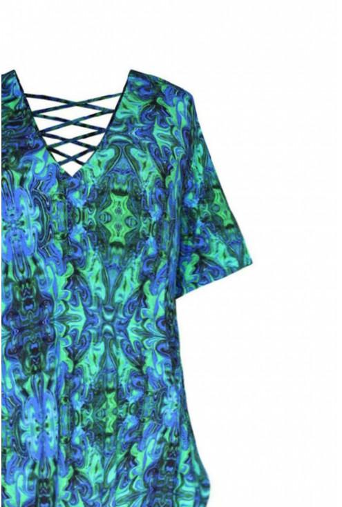ozdobny dekolt paski niebiesko zielona sukienka lolita