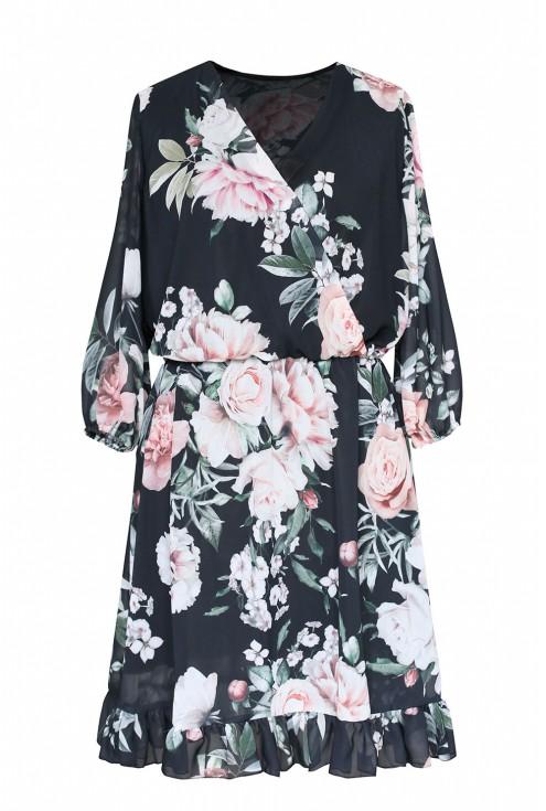 Czarna sukienka w jasne kwiaty z kopertowym dekoltem - ADELITA