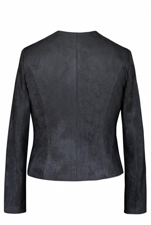 Czarny zamszowy zapinany żakiet - ALBA