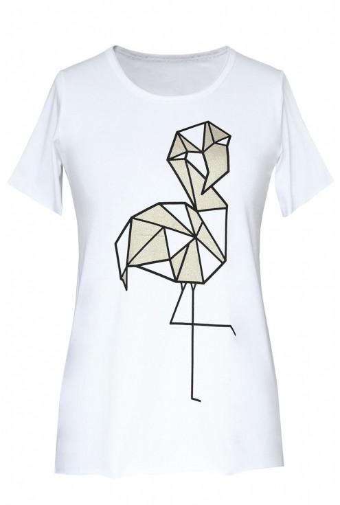 Biała bluzka z krótkim rękawem - wzór flaming - JENA