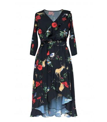 Czarna sukienka z kwiatowym wzorem i wiązaniem w pasie - LILIANE