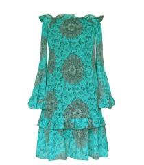 Zwiewna sukienka hiszpanka z falbanami - KLARA - zielona w orientalne dmuchawce