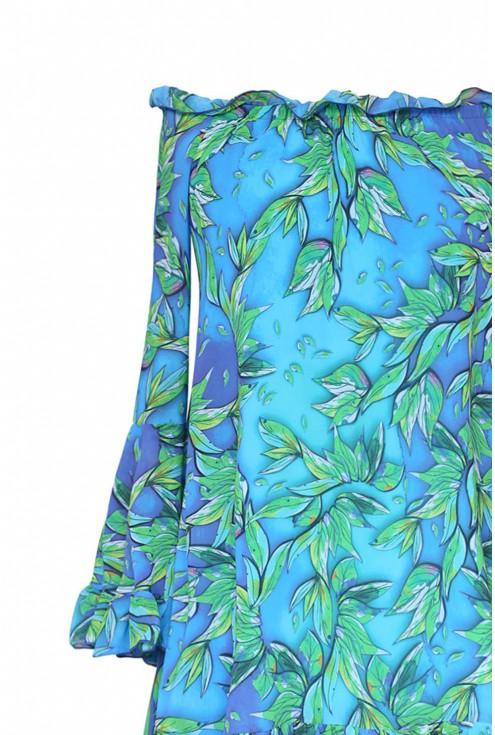 Zwiewna sukienka hiszpanka z falbanami - KLARA - turkusowa w liście