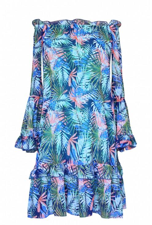 Zwiewna sukienka hiszpanka z falbanami - KLARA - exotic