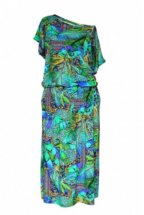 Zielona sukienka 7/8 z roślinnym wzorem - GRAND PRINT