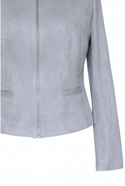 taliowany żakiet z ozdobnym suwakiem w kolorze srebrnym ALBA