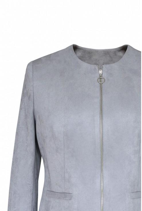 zamszowy żakiet kurtka ALBA xlka srebrny suwa