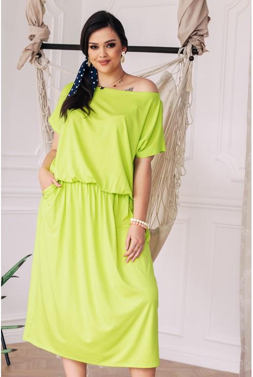 Limonkowa sukienka 7/8 z kieszeniami - GRAND