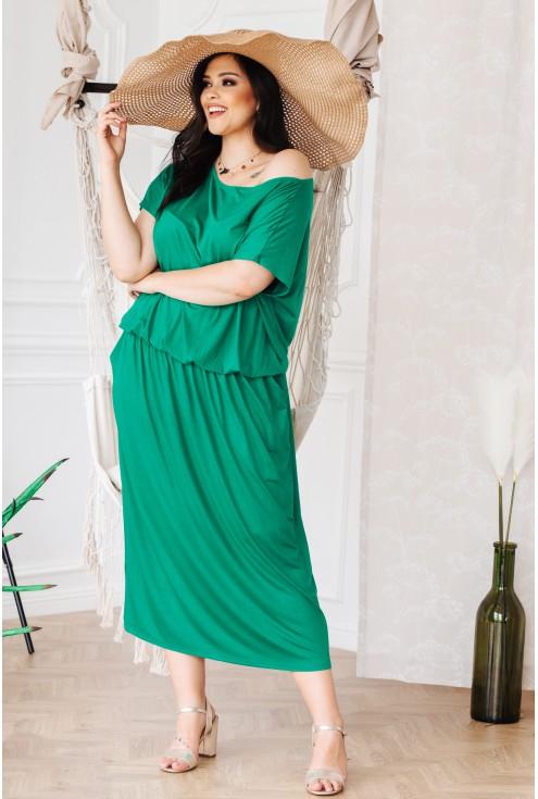 Jasnozielona sukienka 7/8 z kieszeniami - GRAND