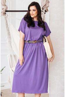 Liliowa sukienka 7/8 z kieszeniami - GRAND