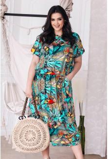 Niebieska sukienka 7/8 z egzotycznym wzorem - GRAND PRINT