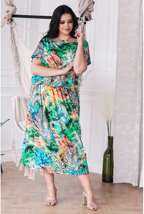 Kolorowa sukienka 7/8 z wzorem w liście  - GRAND PRINT