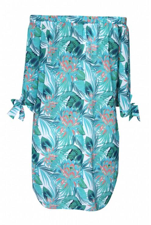 tył miętowej bluzki tropikalnej xxl