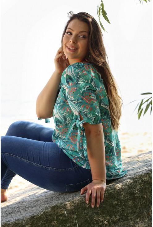 bluzka tropikalny wzór xxl