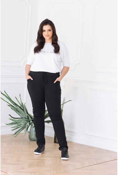 spodnie dresowe czarne z lampasem xl