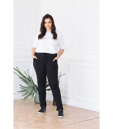 POLSKIE spodnie dresowe z kieszeniami - klasyczny czarny z ciemnym ozdobnym lampasem miś - DIEGO
