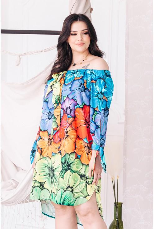 kolorowe kwiaty sukienka hiszpanka xxl