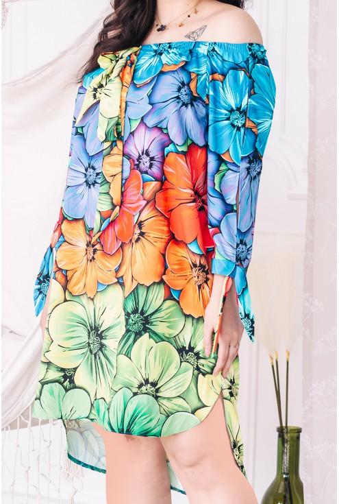 tęczowa sukienka hiszpanka xxl
