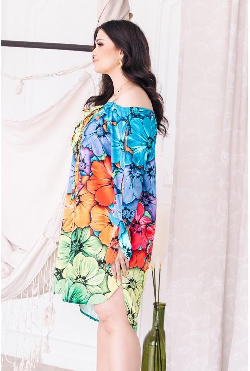 bok sukienki hiszpanki tęczowe kwiaty