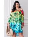Kolorowa sukienka hiszpanka w tęczowe kwiatowy - FONETTI