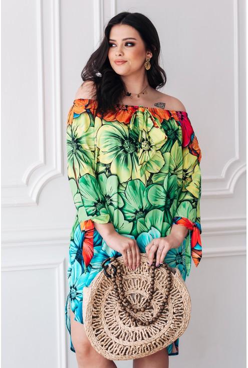 wakacyjna sukienka hiszpanka kolorowe kwiaty wiązania przy rękawach xxl
