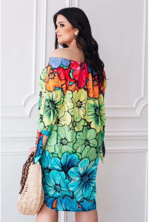 tył kolorowej sukienki w kwiaty xxl duże