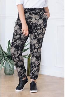 POLSKIE spodnie dresowe z kieszeniami - wzór kwiaty - GLADYS