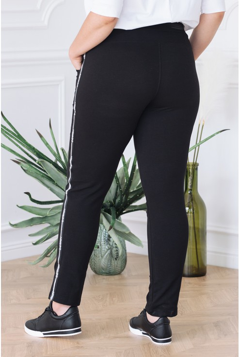 Klasyczne spodnie dresowe w kolorze czarnym - lampas design - ANGEL