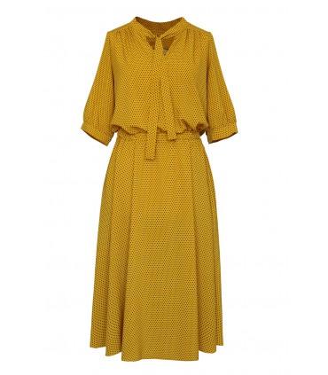 Miodowa sukienka z wzorem w drobne groszki - SAMANTHA