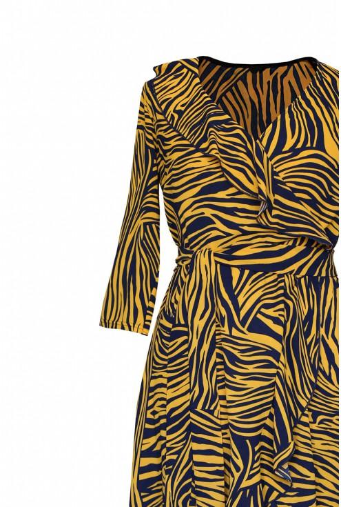 kopertowy dekolt sukienka liliane pomarańczowa zebra plus size
