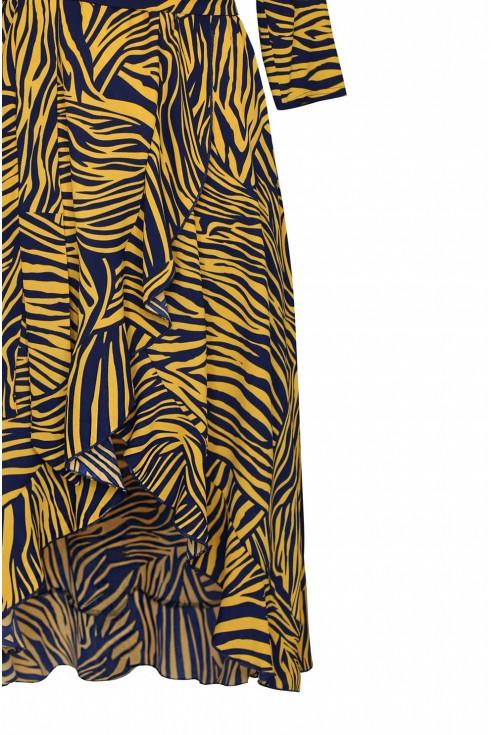 falbanki kopertowy dół sukienka asymetryczna liliane pomarańczowa zebra