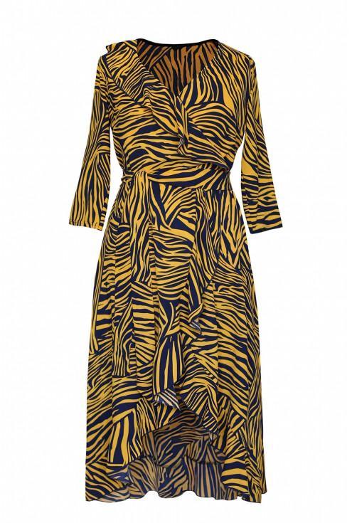 asymetryczna sukienka liliane zebra pomarańczowa