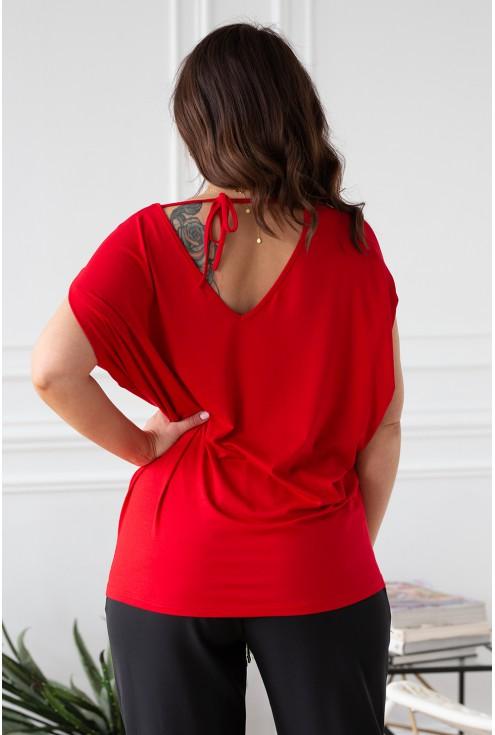 tył bluzki wiązanie na plecach czerwona dora xl