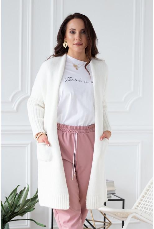 Śmietankowy sweterek-narzutka LISETTE