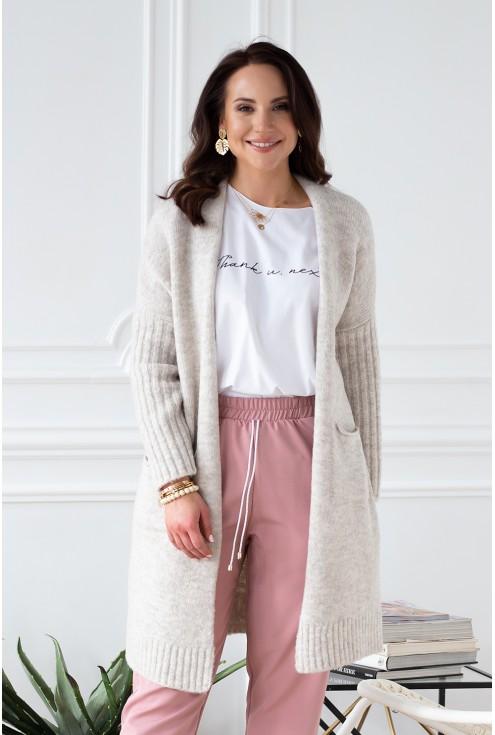 rozpinany sweterek beżowy melanż