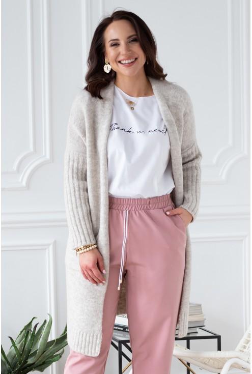 xlka beżowy sweterek plus size