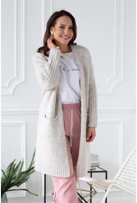 beżowy melanż sweterek xlka