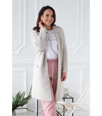 Beżowy melanż sweterek-narzutka LISETTE