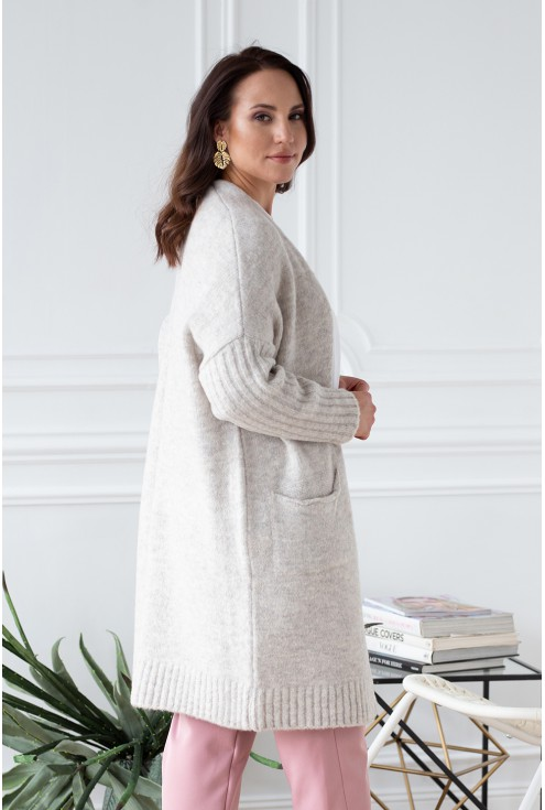 plus size sweterek beżowy
